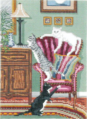 Cats at Home (Handpainted by Needle Crossings)