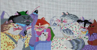 Stitchin Cats    (handpainted by Julia's Needlework)