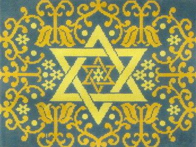 Star and Flowers Blue/Gold  (Handpainted by Fleur de Paris)