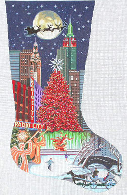 New York City Stocking   (Handpainted by DJ Designs)