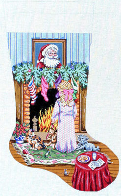 Cookies for Santa (Girl Stocking)  (handpainted Gayla Elliott))