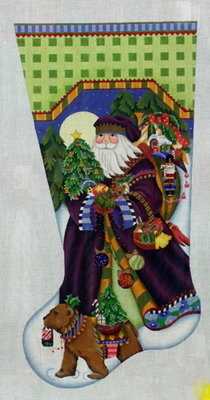 Fancy Santa Stocking      (handpainted by Melissa Shirley Designs)