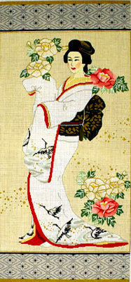Geisha in White (Handpainted by Sophia Designs)