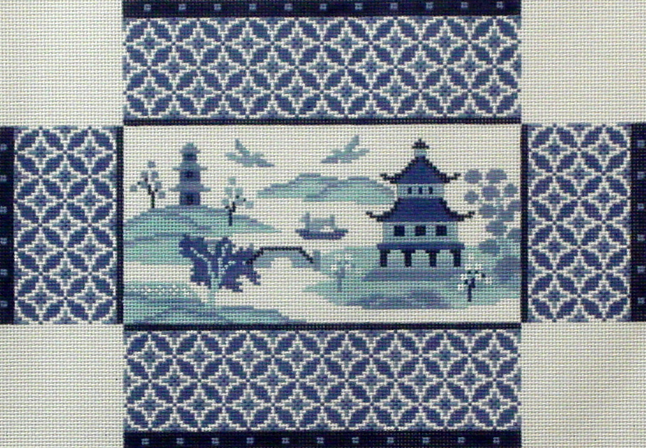 Oriental Scene, Blues Brick Cover   (handpainted by Susan Roberts) 18*6322