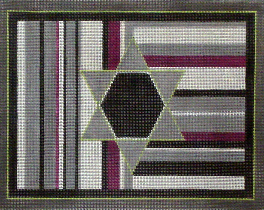 Purple Stripe Tallis   (hand painted from Sew Much Fun) 18*TB02