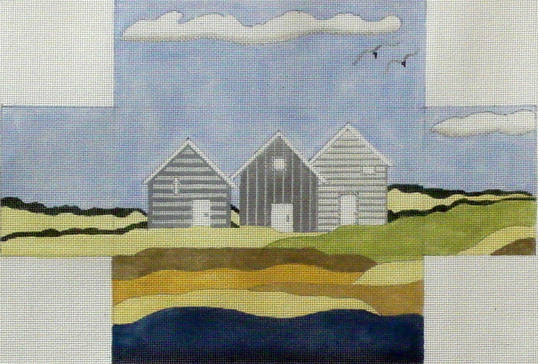 Grey Beach Houses Brick Cover   (Handpainted by BB Needlepoint) 18*BB-112A