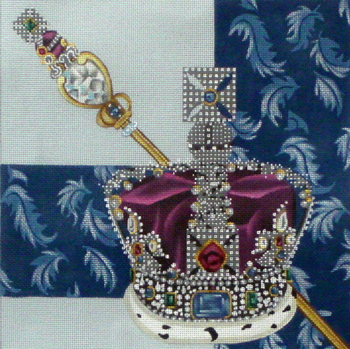 """Queen""  Stitch Guide included      (Handpainted by Leigh Designs) 18*7213"