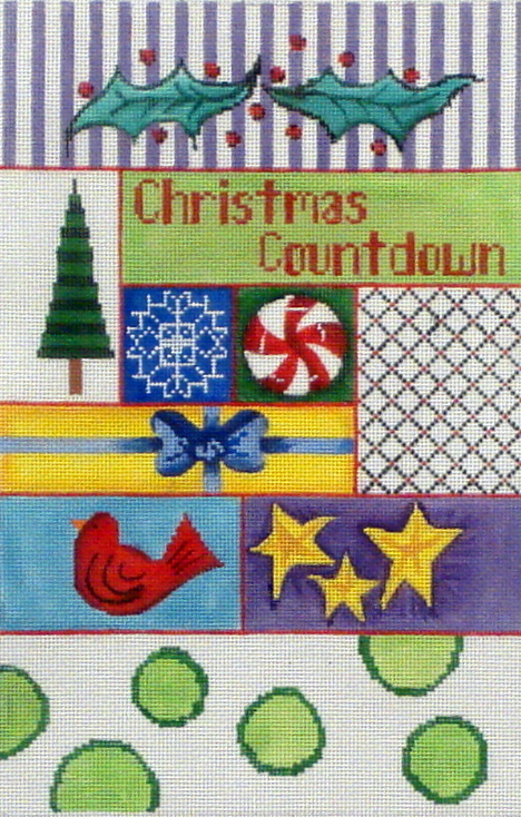 Christmas Countdown (includes base & blocks) (handpainted needlepoint canvas from Patti Mann) *PM-11985