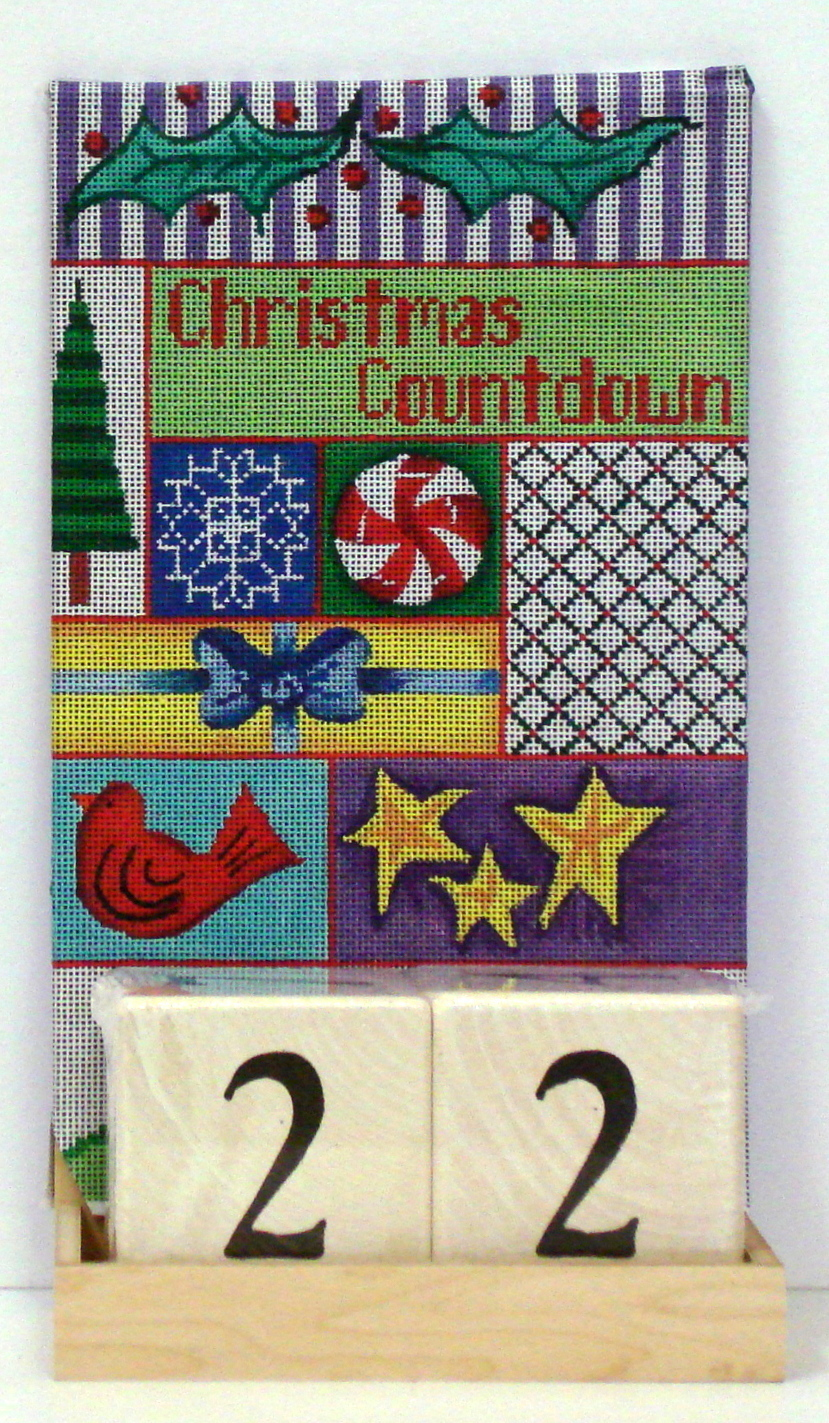 Christmas Countdown (includes base & blocks) (handpainted needlepoint canvas from Patti Mann)