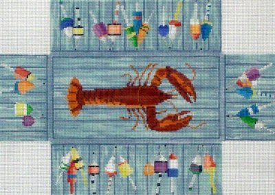 Lobster & Buoys Brick Cover     (handpainted by Susan Roberts)