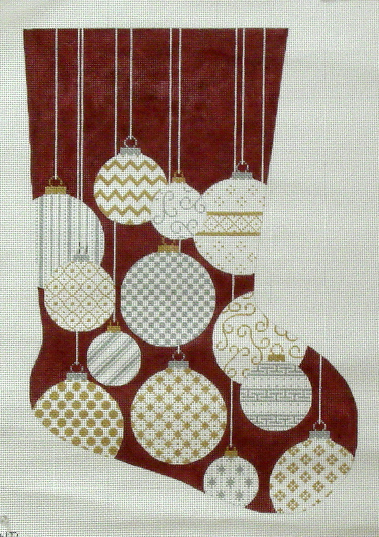 Gold & Silver Ornaments Stocking   (JHandpainted by JP Needlepoint) 18*X-008