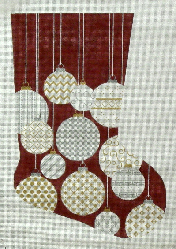 Gold & Silver Ornaments Stocking   (JHandpainted by JP Needlepoint)