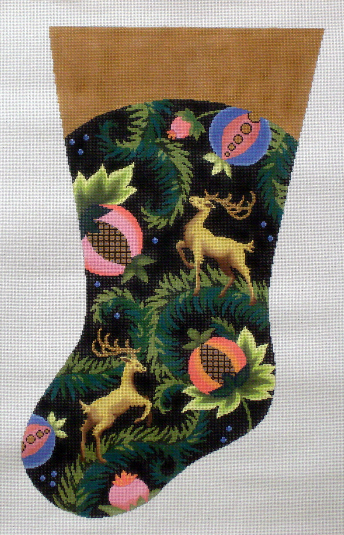 Royal Stag Stocking   (Handpainted by Fleur de Paris) 18*AC-303