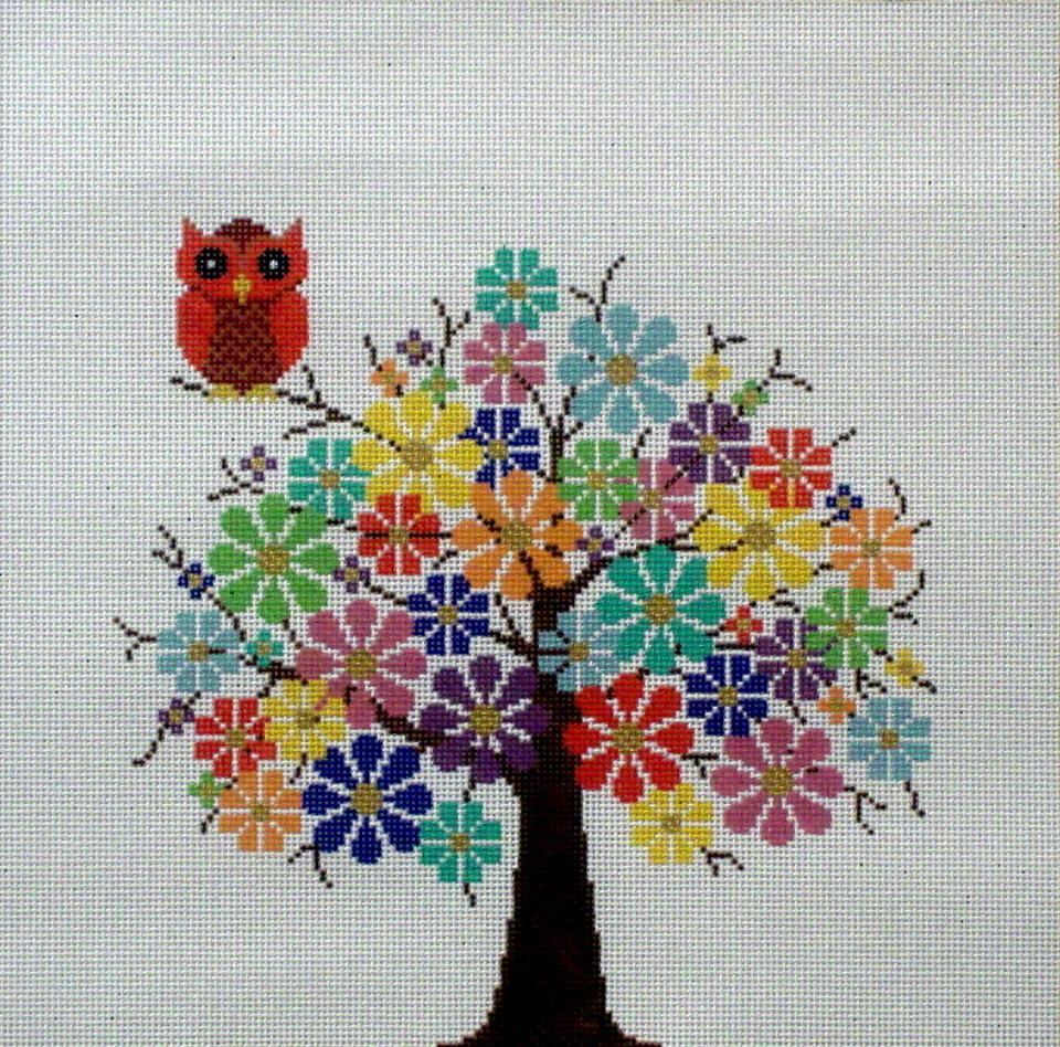 Tree in Full Bloom     (Handpainted by JP Needlepoint) 18*V-145