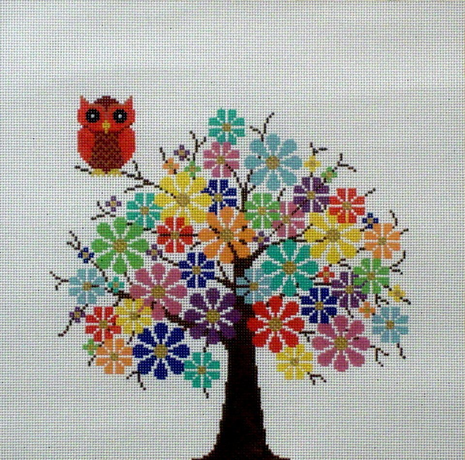 Tree in Full Bloom     (Handpainted by JP Needlepoint)