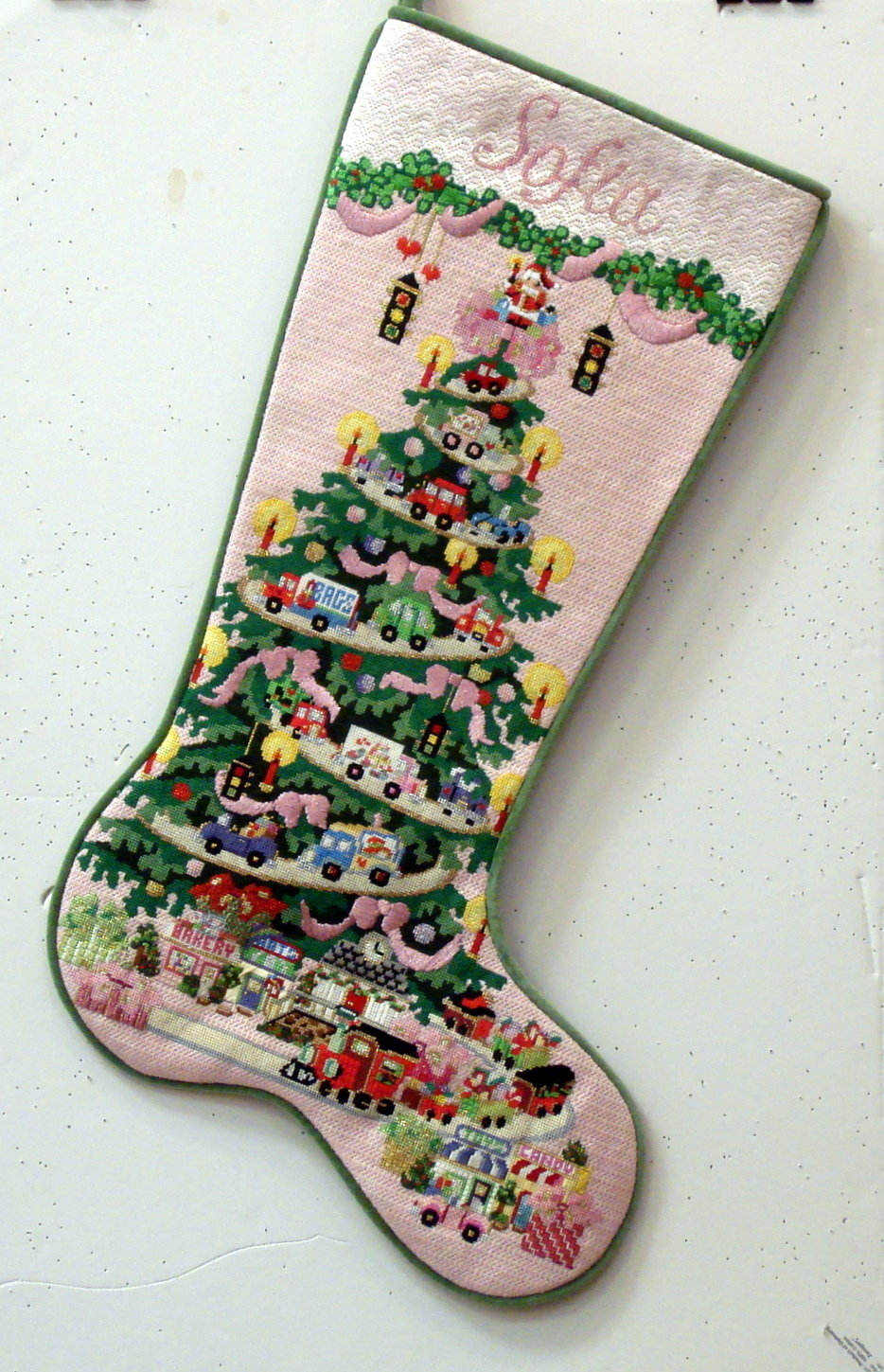 Transportation Tree, for Girls- with Pink Ribbons  (handpainted from Strictly Christmas)
