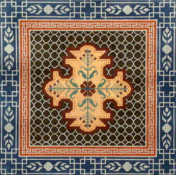 Blue, Brown & Rust Medallions & Border   (Handpainted by JP Needlepoint) 18*L-590