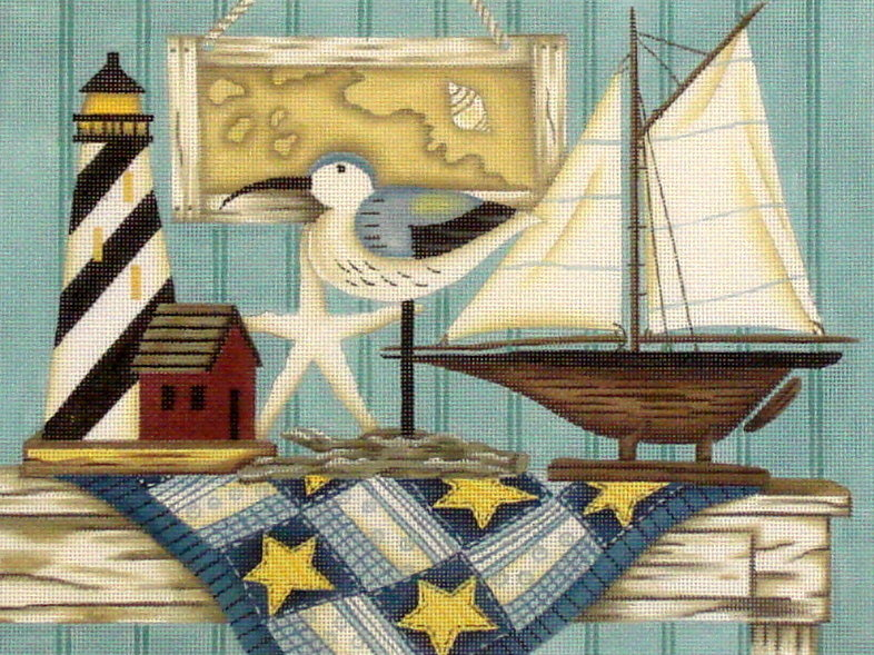 Sailboat Still Life  (Handpainted from Painted Pony Designs) 18*DK-BH07