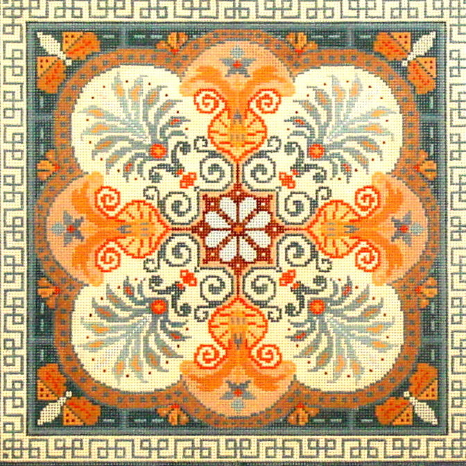 Geometric Tile      (Hand Painted by Merideth Collection) 18*G-721