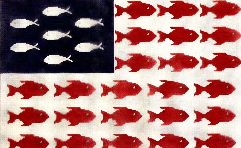 Fish Flag       (hand painted by HSN) 18*SWB-1073