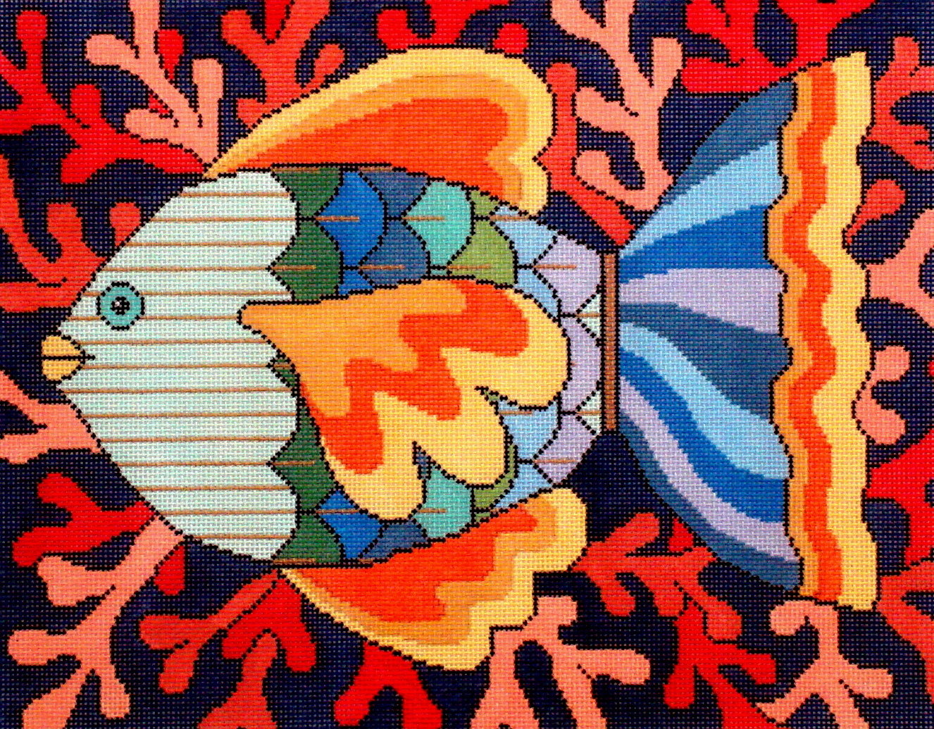 Colorful Fish   (Hand Painted by JP Needlepoint) 18*520