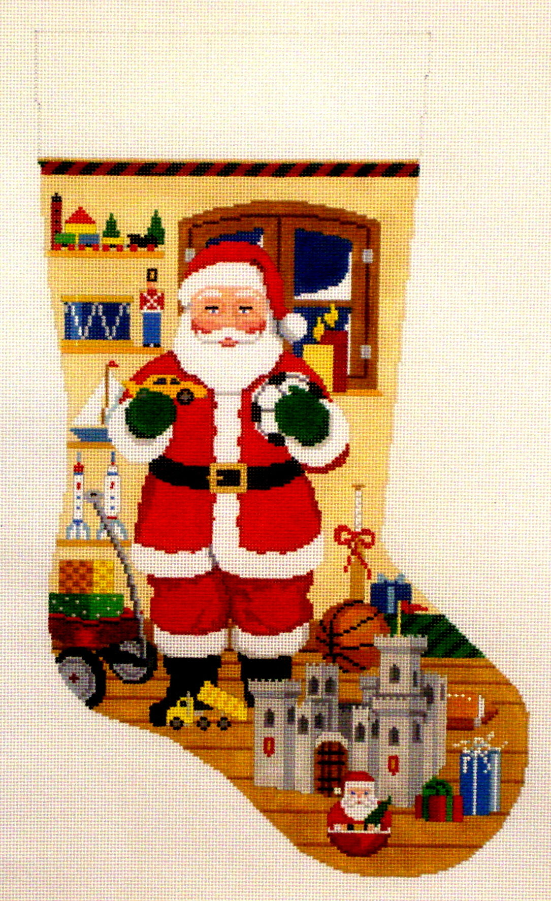 Santa with Castle Stocking   (Hand Painted from Susan Roberts) 18*3242