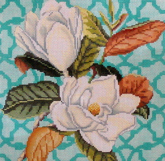 Trellis Square, Magnolia    (Hand Painted by Kirk & Bradley) 18*KB-1361