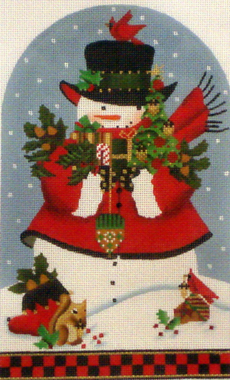 Acorn Snowman Dome/Standup    (Hand Painted needlepoint canvas from  Melissa Shirley)