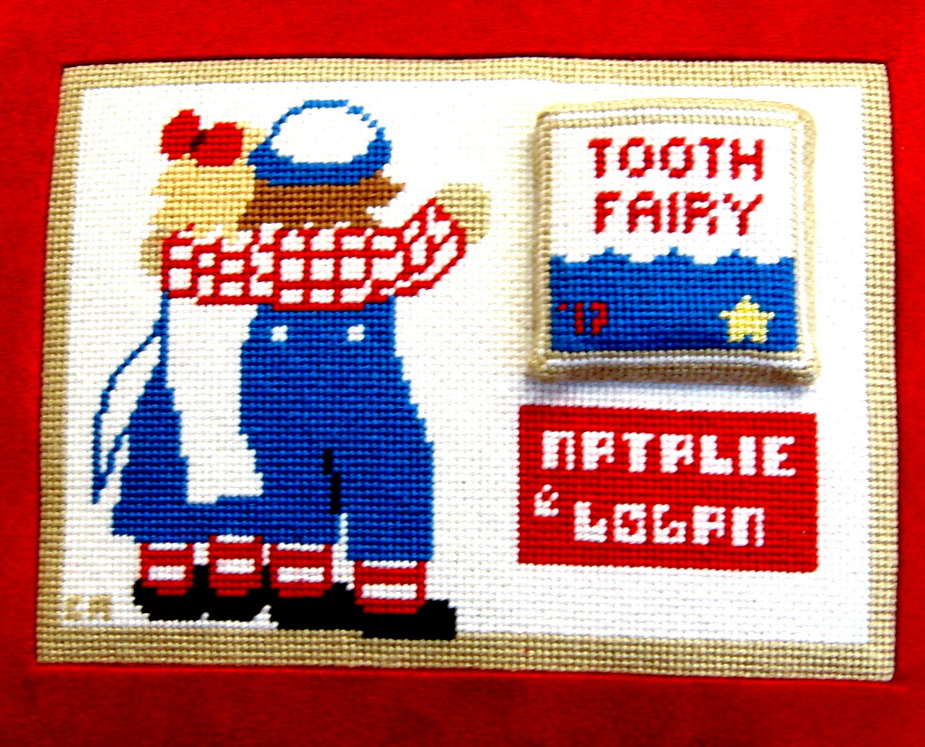 Raggedy Ann & Raggedy Andy Tooth Fairy Pillow  (Hand Painted by Kathy Schenkel)