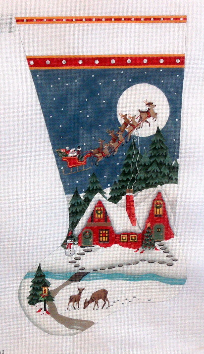 Snowy Red House Stocking   (hand painted from Melissa Shirley) 18*2060