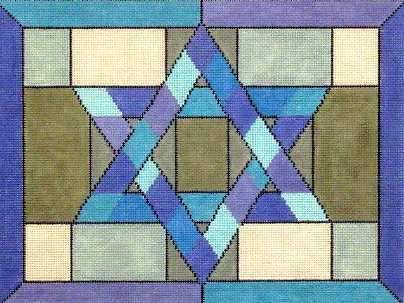 Mosaic Star Blue Tallis     hand painted by Fleur de Paris 18*JT-039