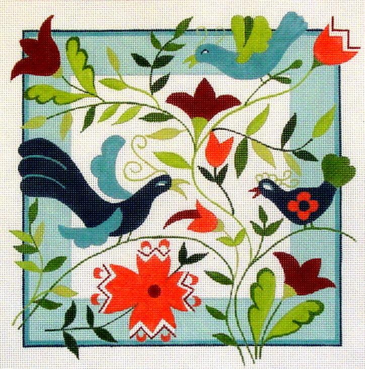 Swedish Birds      (handpainted by Fleur de Paris) 18*2007-S