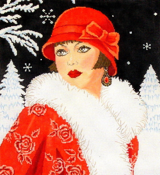 Lady Winter, Art Deco    (Hand Painted by Meredith Collection) 18*C-562d