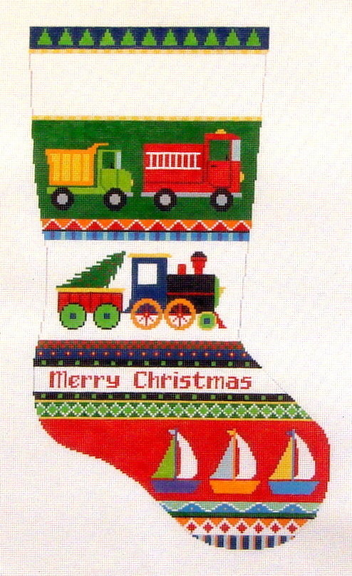 Trucks, Trains & Boats Stocking  (Hand Painted Canvas by Susan Roberts) 18*3234