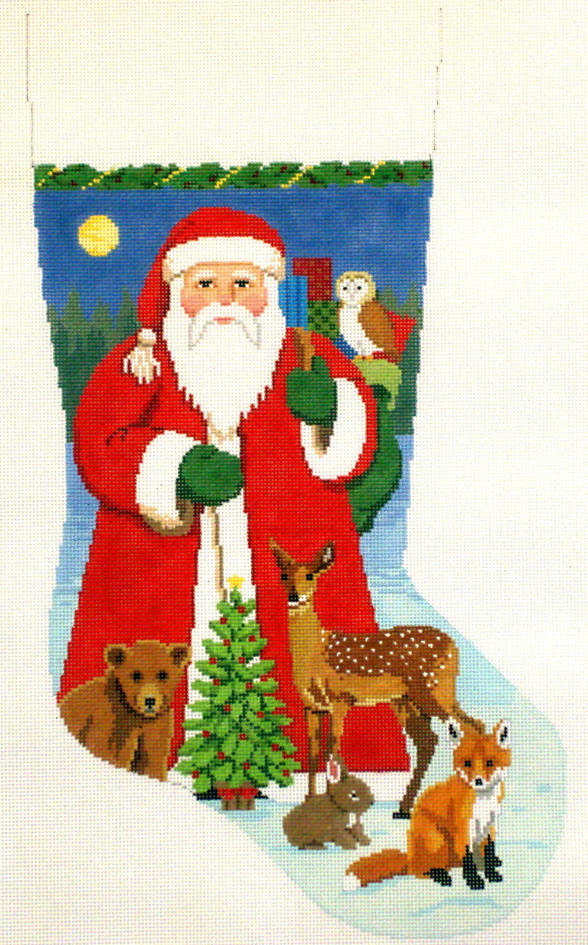 Santa with Baby Forest Animals   (Handpainted Needlepoint from Susan Roberts) 18*3243