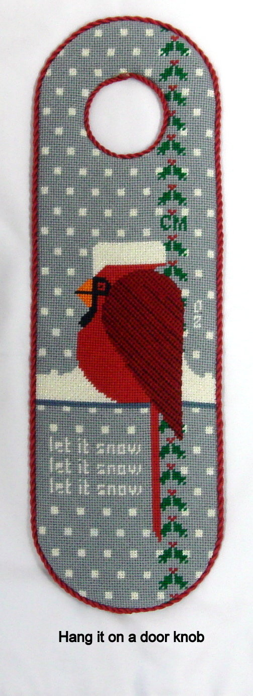Cool Cardinal     (Hand Painted Needlepoint by Merideth Collection)