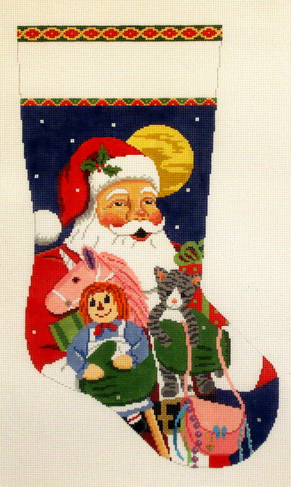 Santa with Kitten, Purse, Unicorn   (Handpainted by Susan Roberts) 18*3238