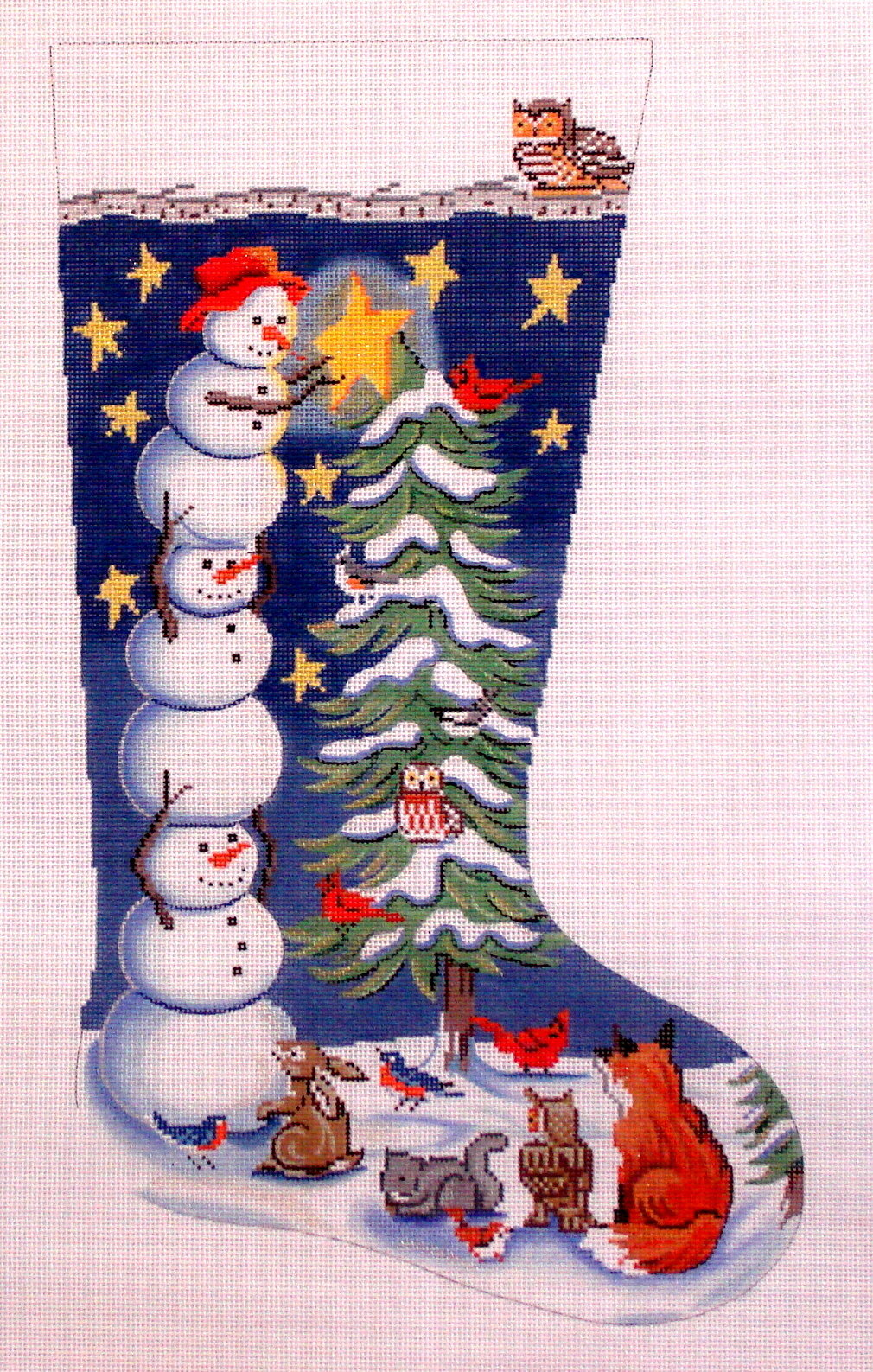 Tree Trimming Snowman Stocking   (Handpainted by Alice Peterson) 18*2899
