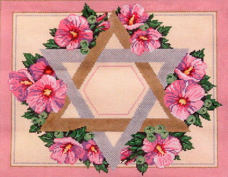 Rose of Sharon Tallis    (Hand Painted Needlepoint Canvas from Fleur de Paris)