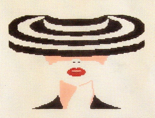 Striped Hat     (Handpainted by Voila) 18*EAG-414