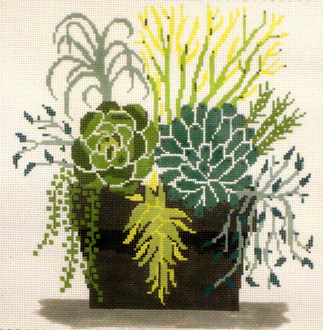 Succulent Pot    (Handpainted by Fleur de Paris) *18-MS-098