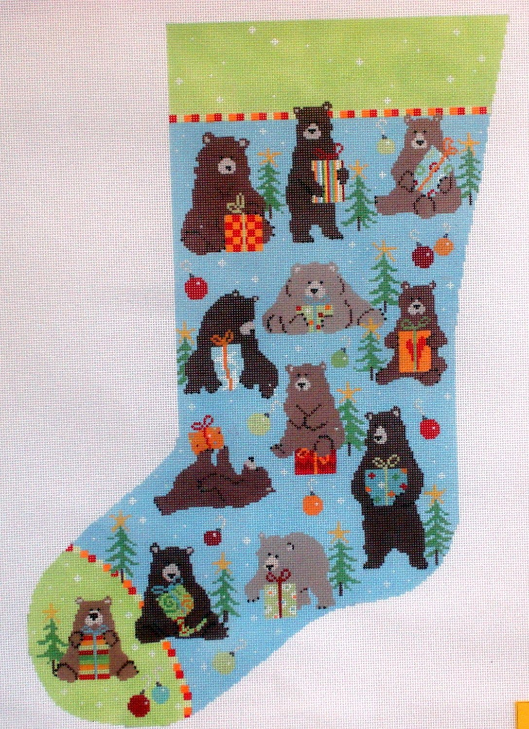 Bear Stocking    (handpainted needlepoint canvas by Pippin)