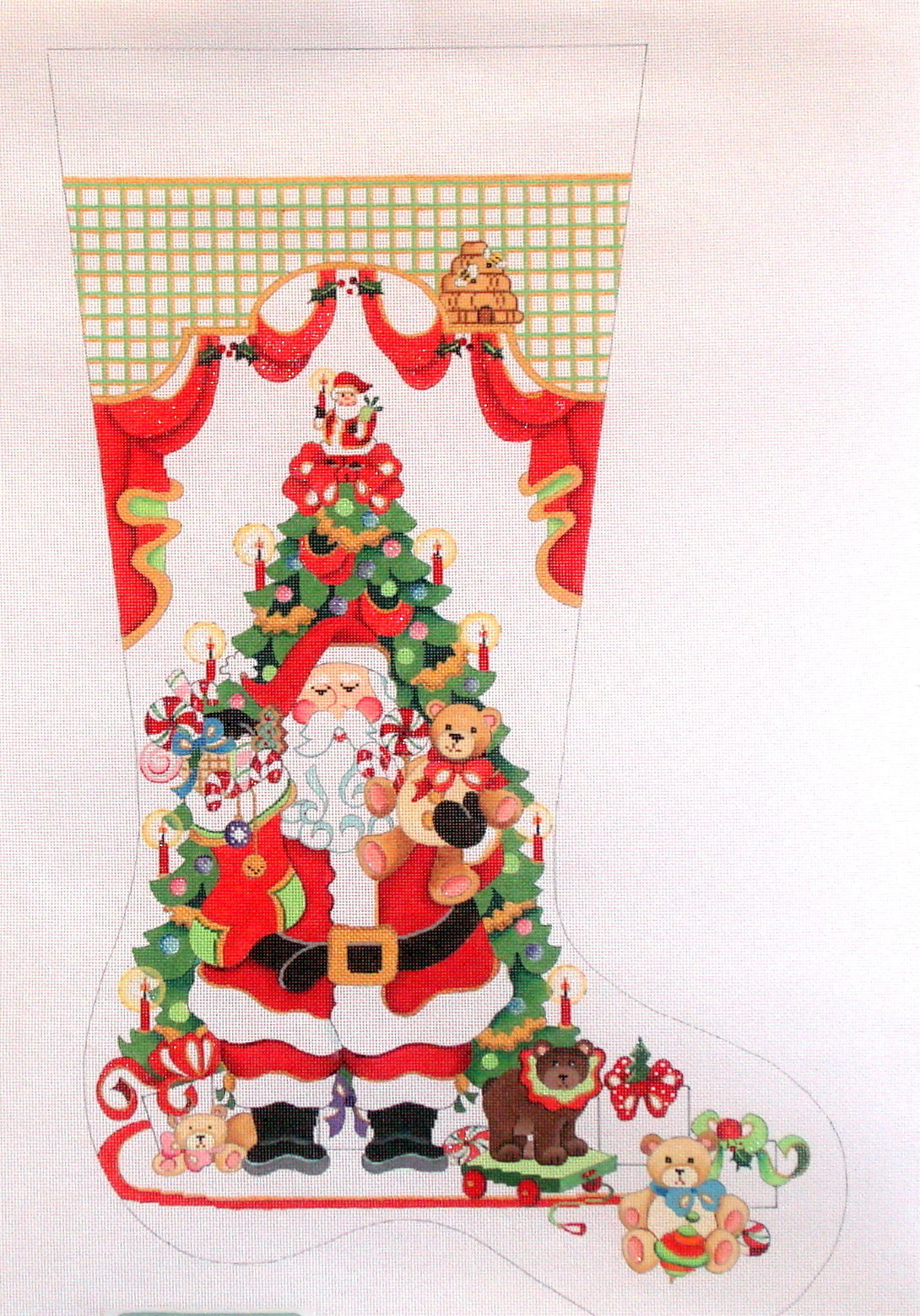 Santa in Front of Tree with Teddy Bears  (handpainted from Strictly Christmas) 18*CS-423