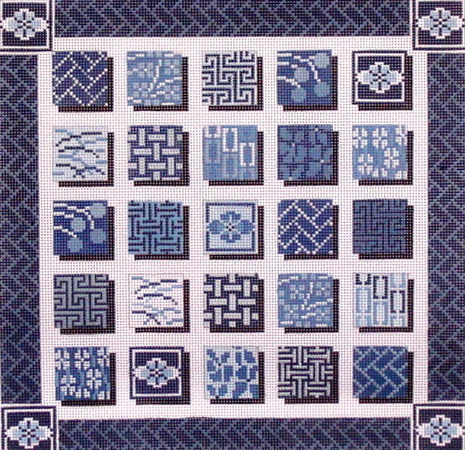 Indigo Squares   (handpainted from Mindy's Needlepoint Factory) 18*2518-13