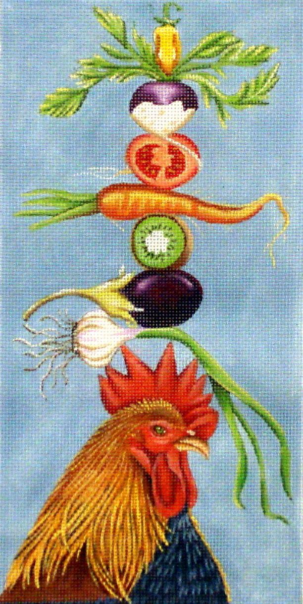 Veggie Rooster     (handpainted by Vikki Sawyer) 18*VS-241