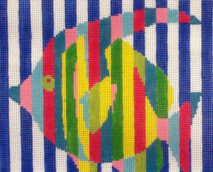 Fish Stripes    (handpainted by Two Sisters) 18*NPSQ-10