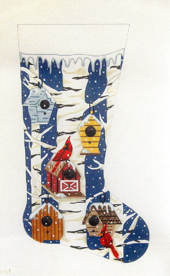 Cardinal and Bird Houses    (handpainted needlepoint canvas by Alice Peterson)