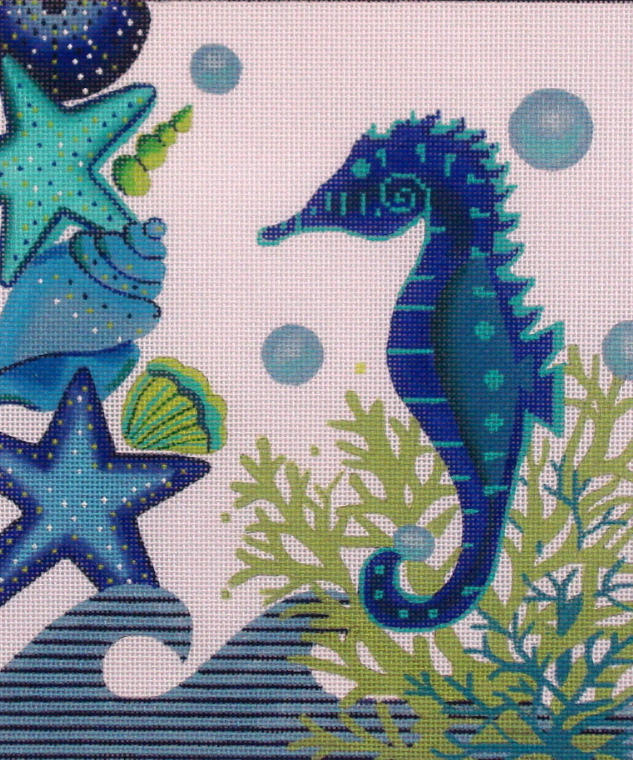 Blue Seahorse and Shells    (handpainted by Alice Peterson) 18*2905
