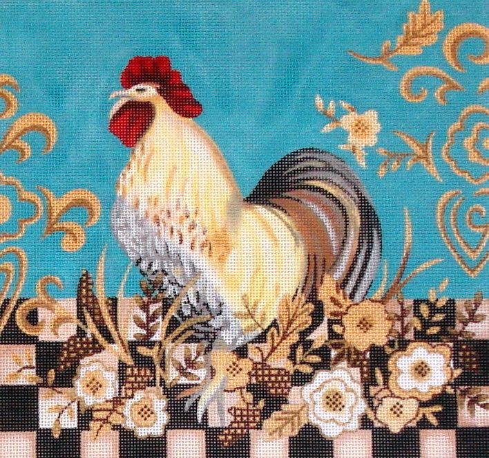 Checkerboard Rooster   (handpainted by Fleur de Paris) JG-101