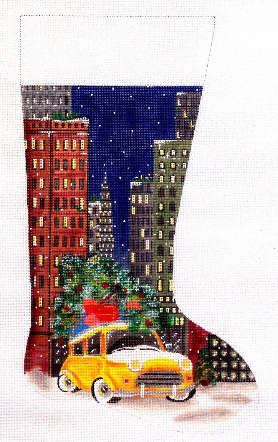 Taxi in City    (handpainted by Alice Peterson)